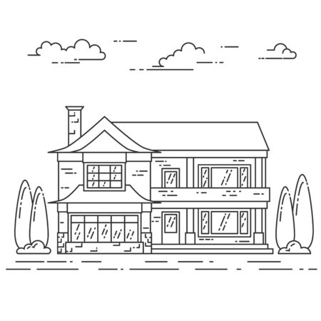 housing style: Suburb landscape with private separate house, yard on white background. Vector illustration. Flat line art style. Concept for building and housing business card, advertise flyer, banner, poster.