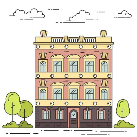 City landscape with house, trees and clouds. Vector illustration. Flat line art style. Concept for building, housing, real estate market, architecture design, property investment flyer, banner, card.