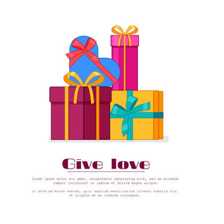 Bright colorful wrapped gift boxes in pile Flat vector