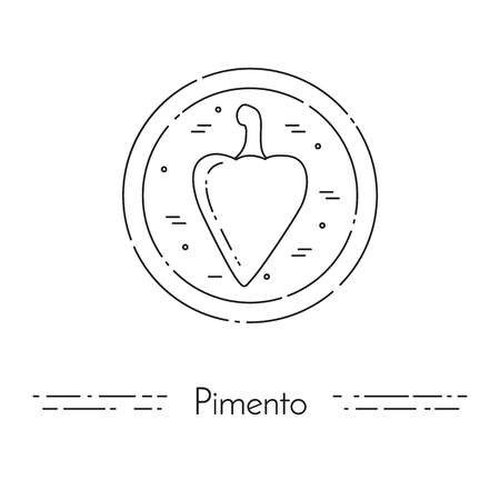 pimento: Pimento thin line banner. Pepper lineout icon for website, logo, card, banner, poster, flyer. Concept for cooking, healthy, vegetarian food, diet hot meals spice Vector illustration Stock Photo