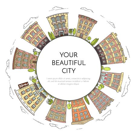 building site: City landscape in form of circle. Houses and trees. Vector illustration.Flat line art. Concept for building, housing, real estate market, architecture design, property investment flyer banner card
