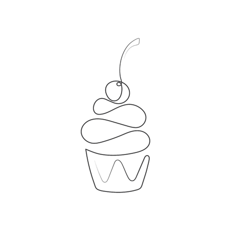 Continuous line cupcake with cherry on top isolated on white background. Vector illustration. One line drawing. Hand drawn element for cafe, bakery logo, inviting card, banner, sale poster, flyer