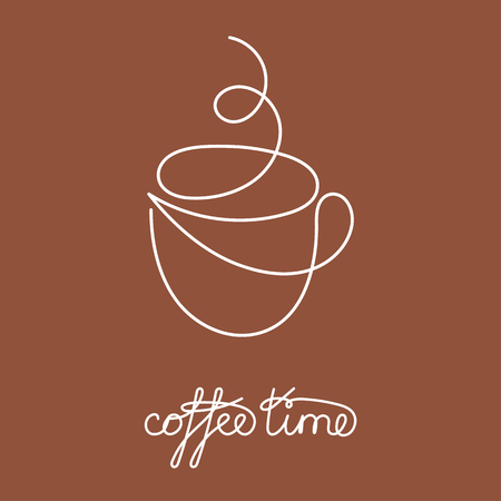 Continuous line cup of hot tea or coffee with steam. Vector illustration. One line drawing with brown decoration. Illustration