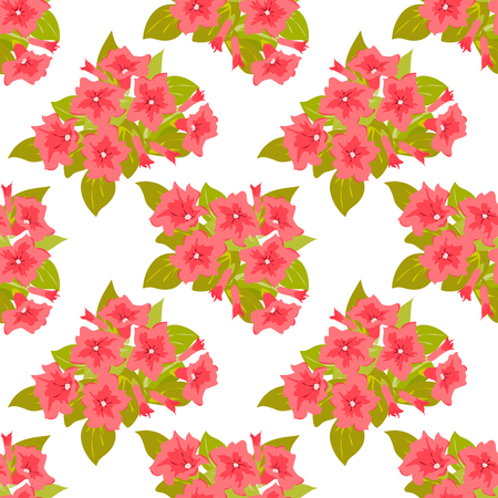 Floral seamless pattern in pink flowers. Petunias on white backdrop. Vector illustration. Abstract elegance background for textile print, book cover, wallpaper, manufacturing, wrap, scrapbooking.