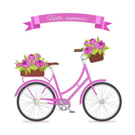 eco flowers basket: Purple retro bicycle with bouquet in floral basket and box on trunk for wedding, congatulation banner, invite, card