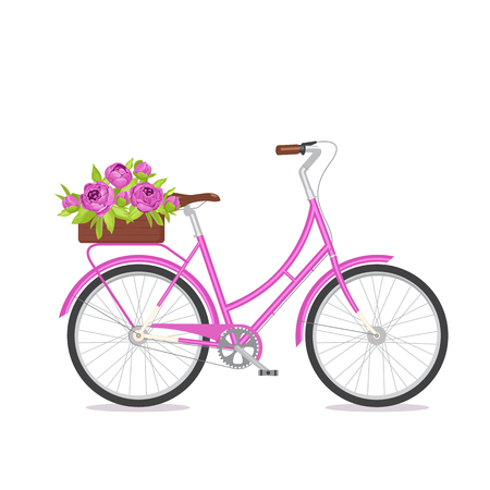 eco flowers basket: Purple retro bicycle with bouquet in floral box on trunk. Color bike isolated on white background. Flat vector illustration. Cycle with flowers for wedding, congratulation banner, invite