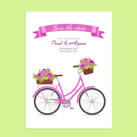 eco flowers basket: Purple retro bicycle with bouquet in floral basket and box on trunk. Color bike isolated on white background. Flat vector illustration. Cycle with flowers for wedding, congratulation banner, invite Illustration