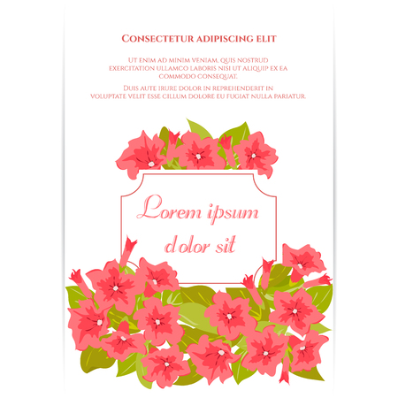 Pink vintage flowers around the frame with sign. Tender retro banner. Vector illustration. Abstract elegance background for wedding invitation, marriage card, congratulation banner, advertise. Illustration