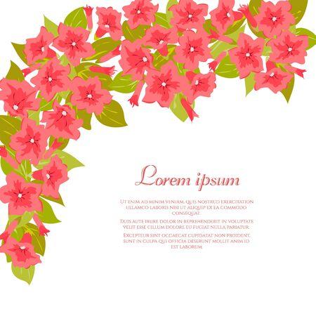 Pink vintage flowers around white background. Tender retro banner. Vector illustration. Abstract elegance background for wedding invitation.