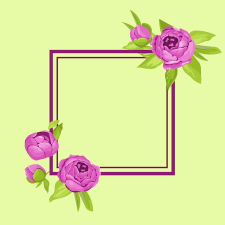 Purple vintage flowers around frame with copyspace. Tender retro banner with peonies. Abstract elegance background for wedding invitation.