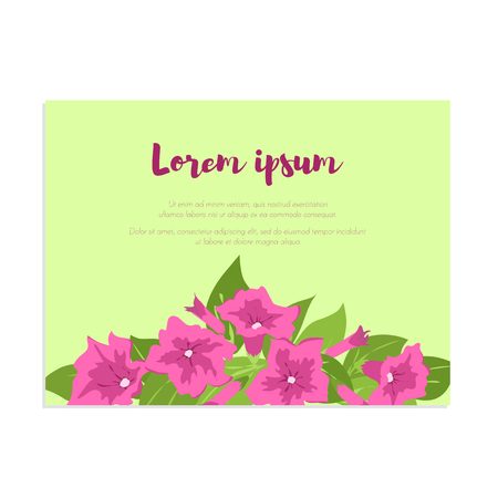 Pink vintage flowers in frame with sign. Tender retro banner. Petunias bouquet. Abstract elegance background for wedding invitation. Illustration