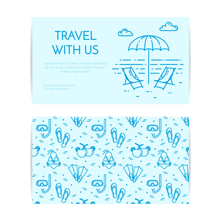 Traveling horizontal banner with loungers on beach. Seamless pattern with sea rest accessories. Flat line art. Vector illustration. Trip, tourism, travel agency, hotels business card.