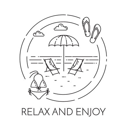 Traveling horizontal banner with loungers, umbrella on beach, swimsuit in circles. Abstract skyline. Flat line art. Vector illustration. Concept for trip, tourism, travel agency, hotels card, banner
