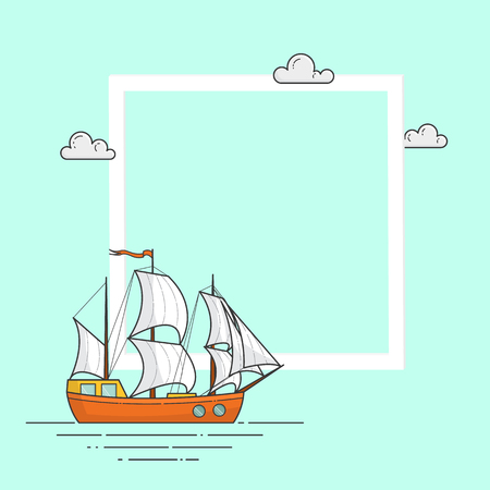 Color ship with white sails on emerald background with big frame and copyspace for trip, tourism, travel agency card.
