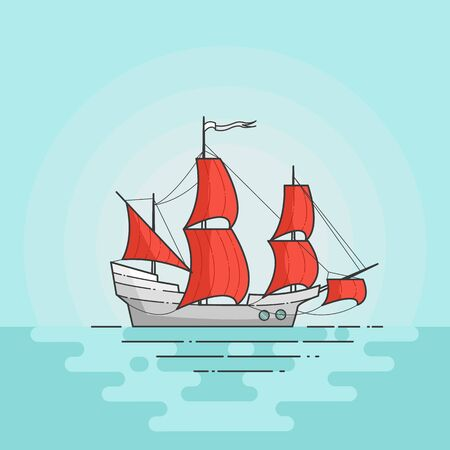dinghy: Color ship with red sails in sea isolated on white background. Traveling banner with sailboat. Flat line art. Vector illustration. Concept for trip, tourism, travel agency, hotels, vacation card.