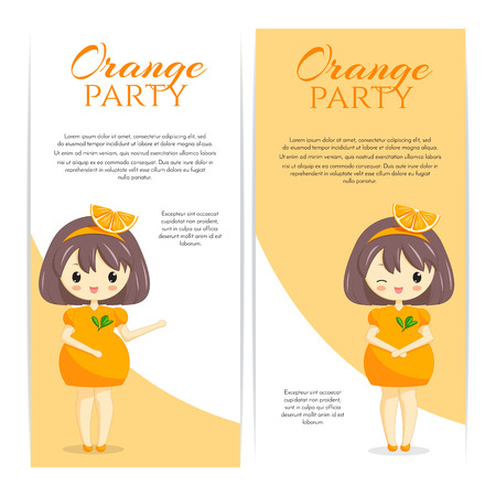 personage: Set of cute kawaii girls in orange dress with decoration in hair isolated on white background. Woman character. Fruit theme for bakery, cafe, dessert banner, flyer, website. Vector illustration.