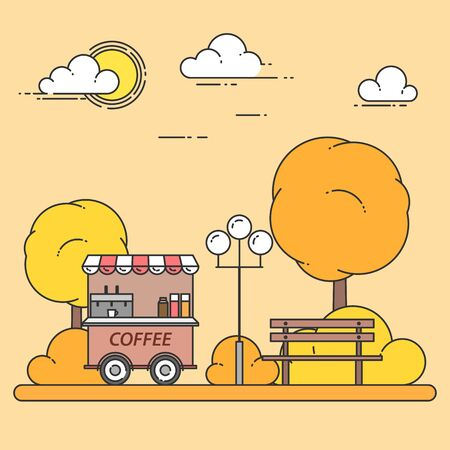 Autumn city landscape with bench, coffee truck in central park. Vector illustration. Line art. Concept for building, housing, real estate market, architecture design, property investment banner, card.