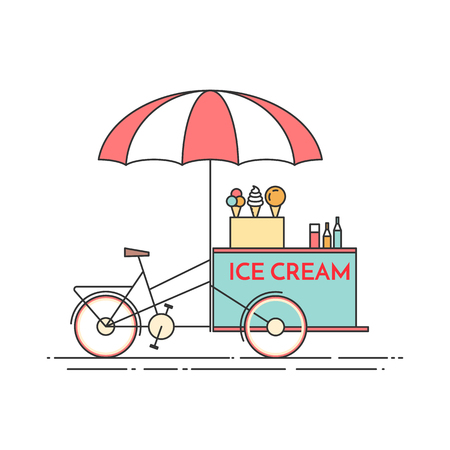 carretto gelati: Ice cream bicycle. Cart on wheels. Food and drink kiosk . Vector illustration. Flat line art. Elements for building, housing, real estate market, architecture design, property investment flyer, banner Vettoriali