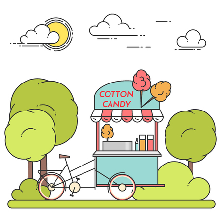 Summer city landscape with cotton candy bicycle in central park. Vector illustration. Line art. Concept for building, housing, real estate market, architecture design, property investment banner, card Illustration