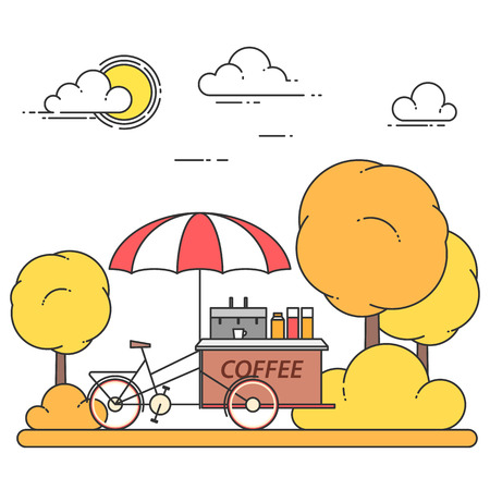 Autumn city landscape with coffee bicycle in central park. Vector illustration. Line art.