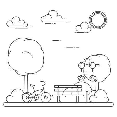 Spring city landscape with bench, bicycle in central park. Vector illustration. Line art. Concept for building, housing, real estate market, architecture design, property investment banner, card. Illustration