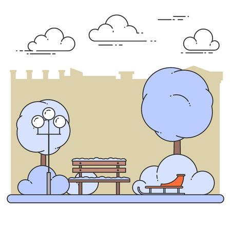 Paysage de ville d'hiver avec banc, traîneau dans le parc central. Illustration vectorielle Dessin au trait Concept pour la construction, le logement, le marché de l'immobilier, la conception de l'architecture, la bannière de l'investissement immobilier, carte.