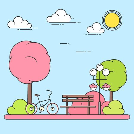 silent: Spring city landscape with bench, bicycle in central park. Vector illustration. Line art. Concept for building, housing, real estate market, architecture design, property investment banner, card. Illustration
