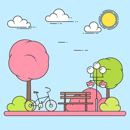 Spring city landscape with bench, bicycle in central park. Vector illustration. Line art. Concept for building, housing, real estate market, architecture design, property investment banner, card. Illustration