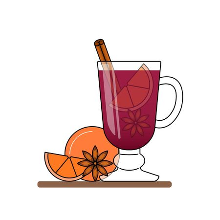 modern business: Mulled wine banner. Hot red wine with cinnamon, orange, star nice.