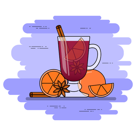 Mulled wine banner. Hot red wine with cinnamon, orange, star nice. Flat line art stile. Illustration
