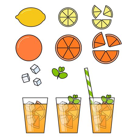 Orange lemonade with citrus slices, ice and meant in glass with straw, cut lemon and orange. Illustration