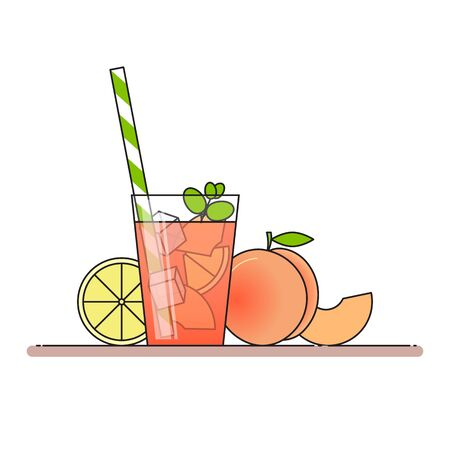 Peach lemonade with fruit slices, ice and meant in glass with straw, cut lemon and peach.