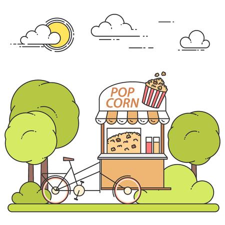 retail equipment: Pop corn cart on wheels. Sweet snack food kiosk in public park . Vector illustration. Illustration