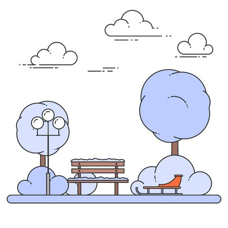 Paysage de ville d'hiver avec banc, traîneau dans le parc central. Illustration vectorielle