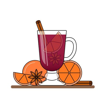 Mulled wine banner. Hot red wine with cinnamon, orange, star anice. Flat line art stile. Vector illustration. Concept for autumn, winter, Christmas, New Year, business card, sales flyer, advertise