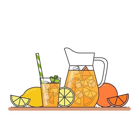 Orange lemonade with citrus slices, ice and meant in jug and glass with straw, cut lemon and orange. Isolated on white background. Modern flat style. Line art. Concept for cafe, summer banner, flyer.