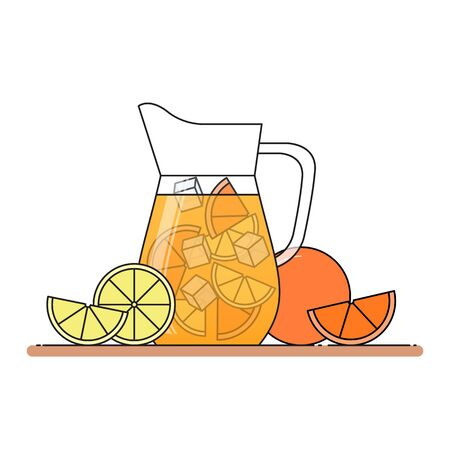 Orange lemonade with citrus slices, ice and meant in jug, cut lemon and orange. Isolated on white background. Modern flat style. Line art. Concept for cafe, summer banner, flyer.