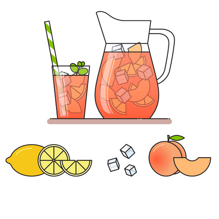 Peach lemonade with fruit slices, ice and meant in jug and glass with straw, cut lemon and peach. Isolated on white background. Modern flat style. Line art. Concept for cafe, summer banner, flyer.
