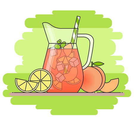 Peach lemonade with fruit slices, ice and meant in jug and glass with straw, cut lemon and peach. Isolated on green background. Modern flat style. Line art. Concept for cafe, summer banner, flyer.