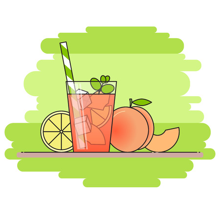 Peach lemonade with fruit slices, ice and meant in glass with straw, cut lemon and peach on green background. Modern flat style.Line art.Concept for cafe, summer banner, flyer, card, poster, advertise