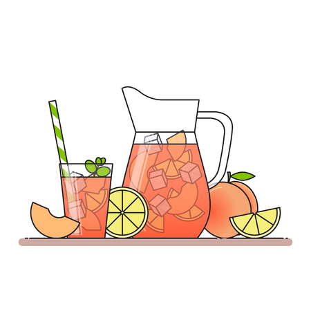 Peach lemonade with fruit slices, ice and meant in jug and glass with straw, cut lemon and peach. Isolated on white background. Modern flat style. Line art.