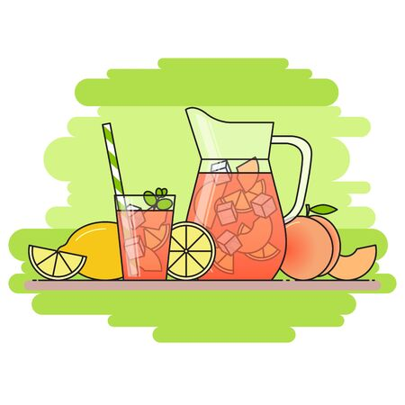 Peach lemonade with fruit slices, ice and meant in jug and glass with straw, cut lemon and peach. Isolated on green background. Modern flat style. Line art.