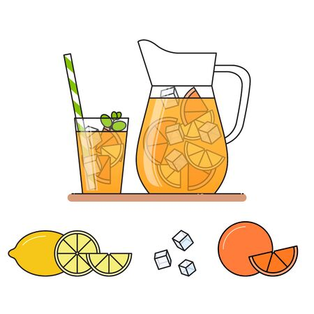 Orange lemonade with fruit slices, ice and meant in jug and glass with straw, cut lemon and orange. Isolated on white background. Modern flat style. Line art.