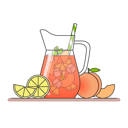 Peach lemonade with fruit slices, ice and meant in jug with straw, cut lemon and peach. Isolated on white background. Modern flat style. Line art. Concept for cafe, summer banner, flyer. Illustration