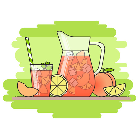 limon caricatura: Peach lemonade with fruit slices, ice and meant in jug and glass with straw, cut lemon and peach. Isolated on green background. Modern flat style. Line art. Concept for cafe, summer banner, flyer.