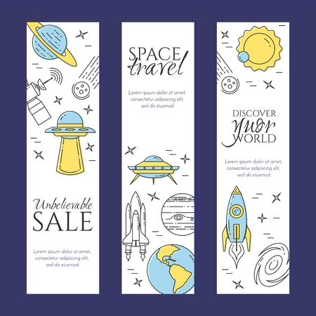 Space travel line banner with elements of planets  イラスト・ベクター素材