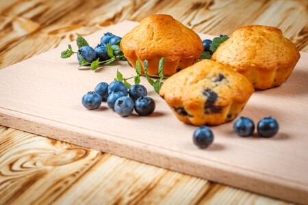 blueberry muffin: Blueberry muffin. Homemade baked cupcake with blueberries, fresh berries, mint on wooden background. Empty space for text. Stock Photo