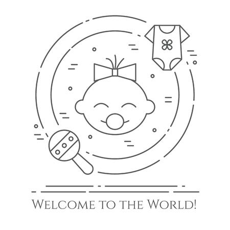 Baby theme circular banner design. Illustration