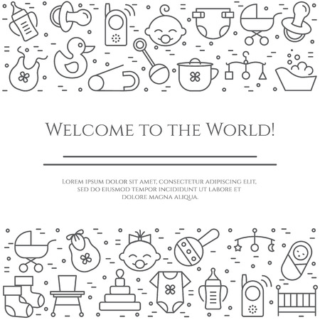 Baby theme horizontal banner. Pictograms of baby, pram, crib, mobile, toys, rattle, bottle, diaper, bathtub, bib and other newborn related elements Line out symbols Simple silhouette. Editable stroke