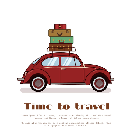 Red retro car with stack of old fashioned suitcases on trunk isolated on white background flat vector illustration. For travel agency gritting card, congratulation, banner, flyer. Foto de archivo - 95161898